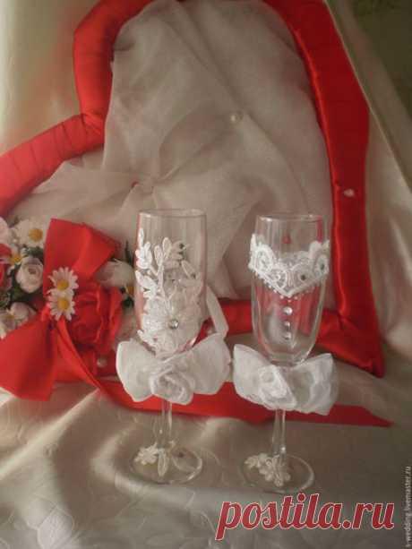 Купить Бокалы Восточная сказка - белый, Бокалы, свадебные бокалы, кружево, Сваровски, сваровски swarovski