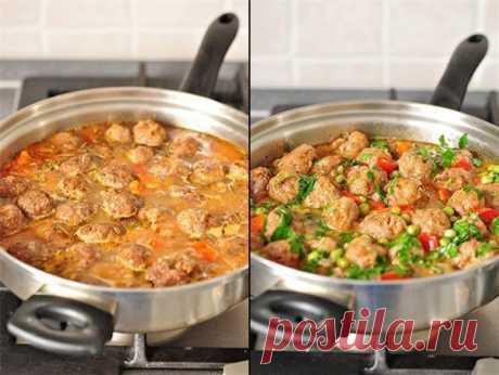 Фрикадельки с овощным рагу  128ккал на 100гр   Фрикадельки: (выход - 35 штук)  Фарш говяжий - 500 гр.,  Показать полностью…