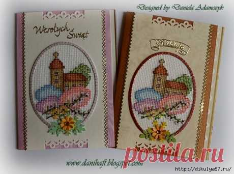 Пасхальные открыточки, вышивка