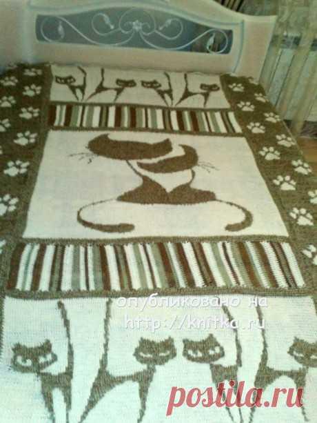 Вязаный плед Коты. Работа Ирины, Вязание для дома