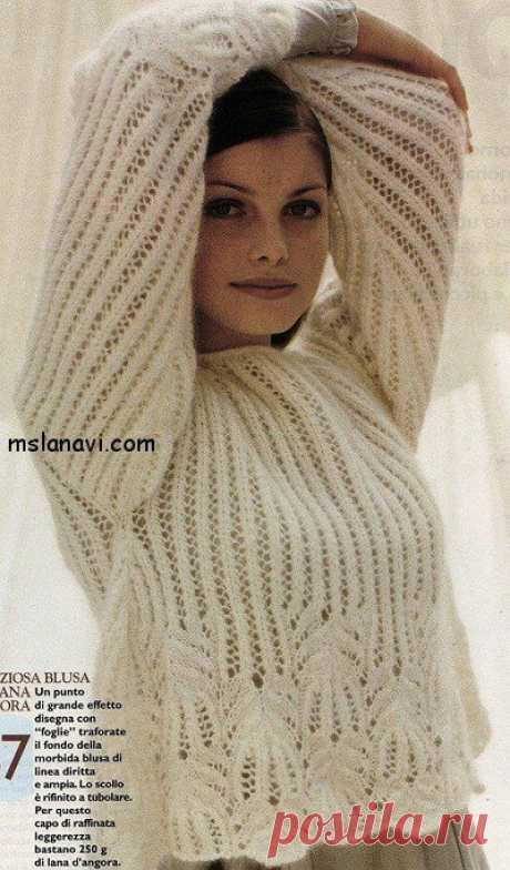 """Белые ажурные пуловеры с узором """"медвежьи лапки"""" - Вяжем с Лана Ви Белые ажурные пуловеры, в которых узор «медвежьи лапки» использован как один из мотивов. Первая модель от испанских мастеров, перевод описания сделала девушка Vale. Автор второй модели —Елена СУВОРОВА, «Все для женщины». Обе модели дополнены резинкой; ажурной и обычной. В каждом из вариантов она играет разную функцию. РАЗМЕРЫ: 40Р / 42Р МАТЕРИАЛЫ: 250 грамм пряжи с […]"""