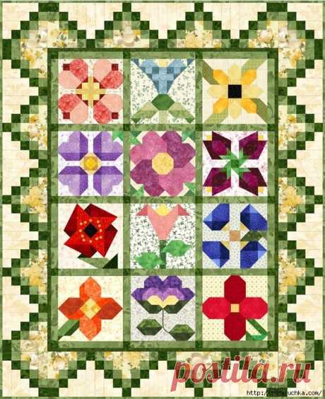 Цветочное лоскутное одеяло: шаблоны блоков — Сделай сам, идеи для творчества - DIY Ideas