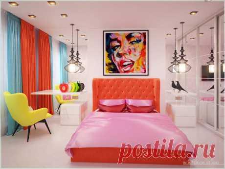 Дизайн интерьера комнат с акцентом на яркой мебели