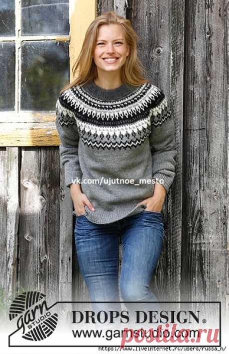 Пуловер с круглой жаккардовой кокеткой Night Shades by DROPS Design  Размеры S - M - L - XL - XXL - XXXL  Материалы Пряжа DROPS KARISMA (100% шерсть, 50 г/100 м) 8-9-10-11-12-13 мотков цвета 21 серого, по 1-2-2-2-2-2 мотка цветов 21 (темно-серого) и 05 (черного), по 1 мотку 01 (белого) и 72 (жемчужно-серого); спицы чулочные и круговые 3 мм и 4 мм  Плотность вязания  21 петля и 28 рядов = 10х10 см чулочной вязкой на спицах 4 мм  Реглан: 2 п. вместе лиц., маркер, протяжка. Р...