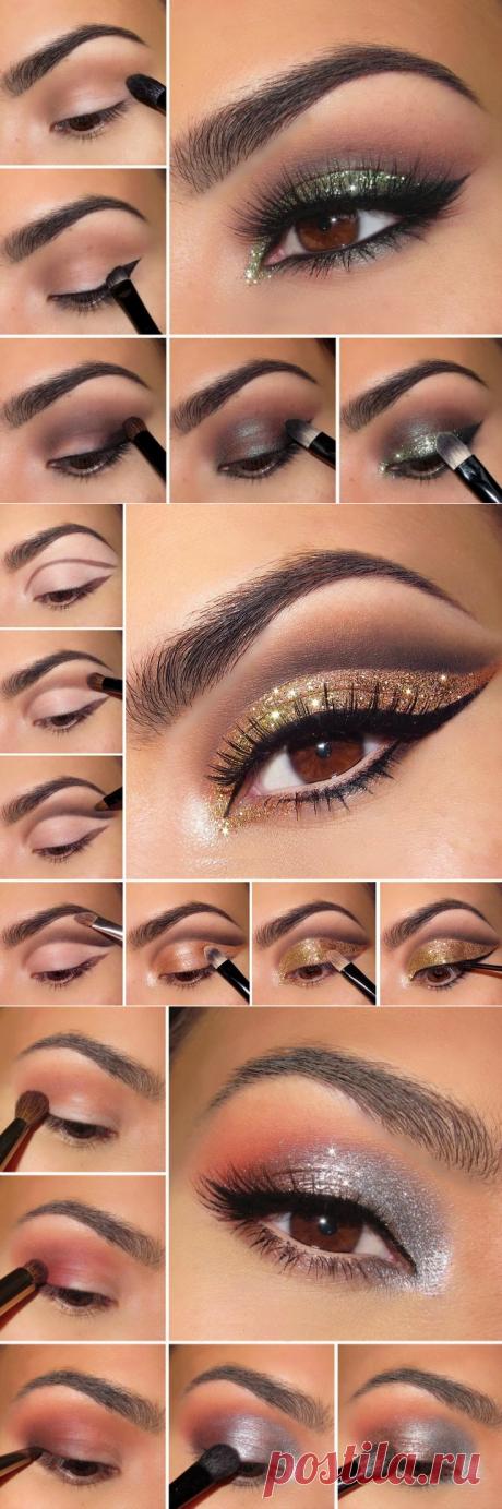 10 poshagovyh de las instrucciones para el maquillaje brillante de los ojo.