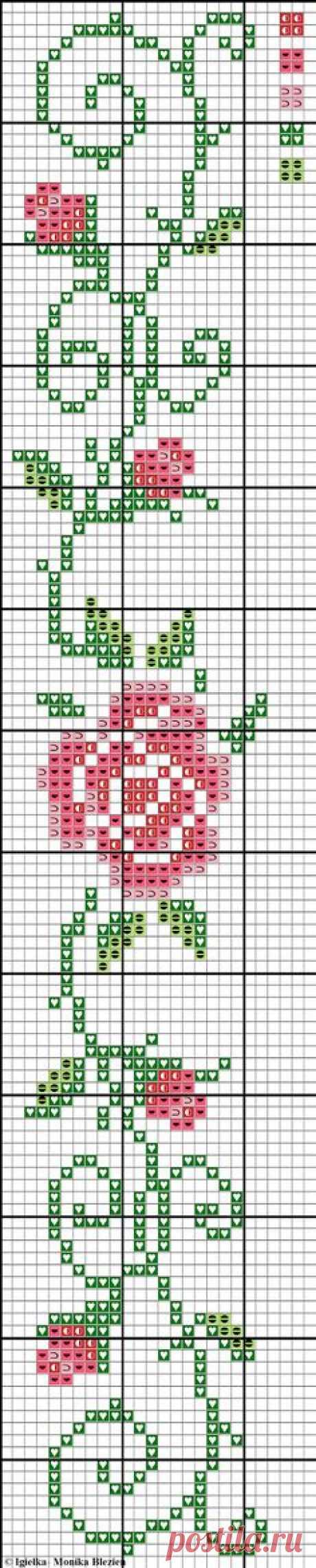 Схема вышивки роз крестиком бисером