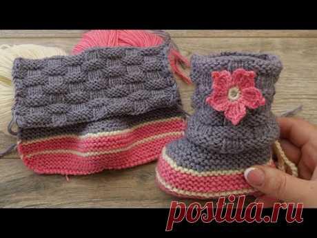 Пинетки «Плетенка» спицами 🌸🧸🌸 Baby booties knitting pattern 🍼 - YouTube