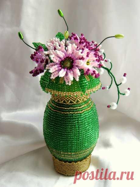 пасхальные яйца из бисера в виде вазы с цветами - Поиск в Google