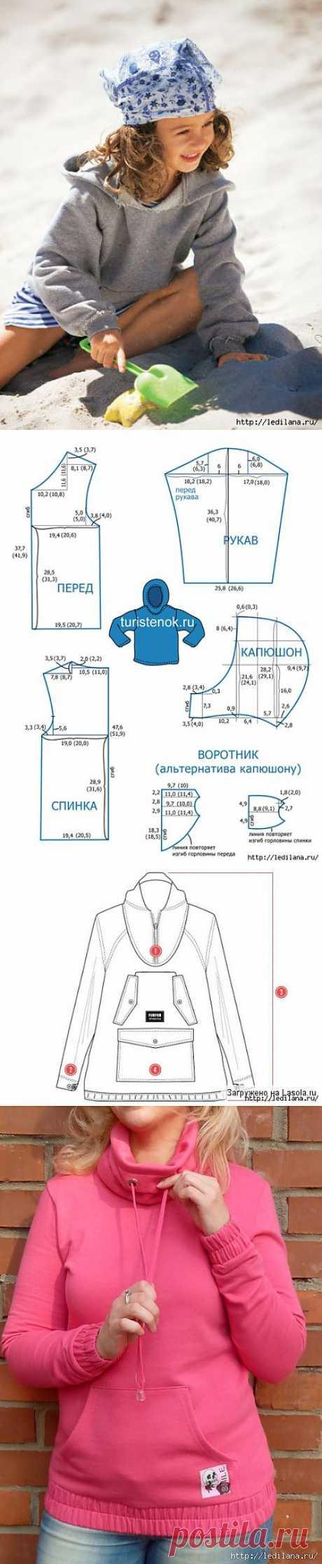 Выкройка детской куртки анорака.