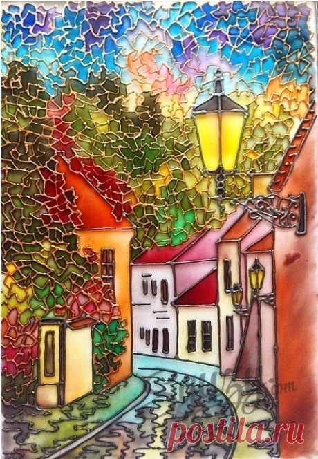 """La Clase maestra por vitrazhnoy las pinturas: el cuadro """"Тихий переулок"""" \/ Vitrazhnaya la pintura \/ Squzy.com - las clases maestras por la costura"""