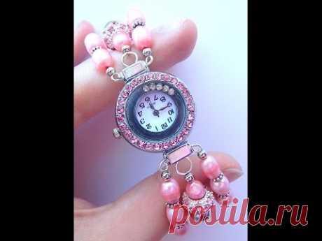 Делаем часы с браслетом из жемчуга в три ряда