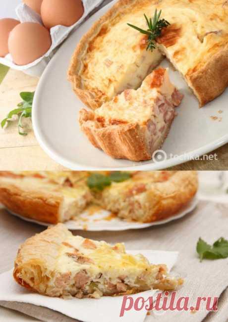 Kish con el jamón y el queso