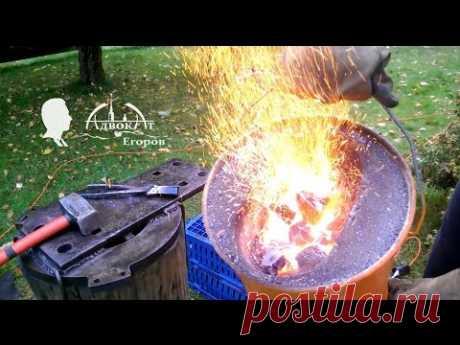 Самодельный кузнечный горн из двух ведер и вентилятора forge - YouTube