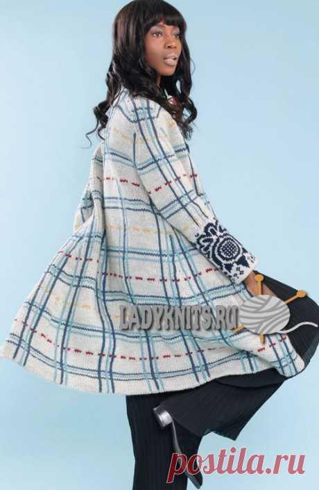 """Вязаное спицами красивое вязаное пальто """"Ширли"""""""