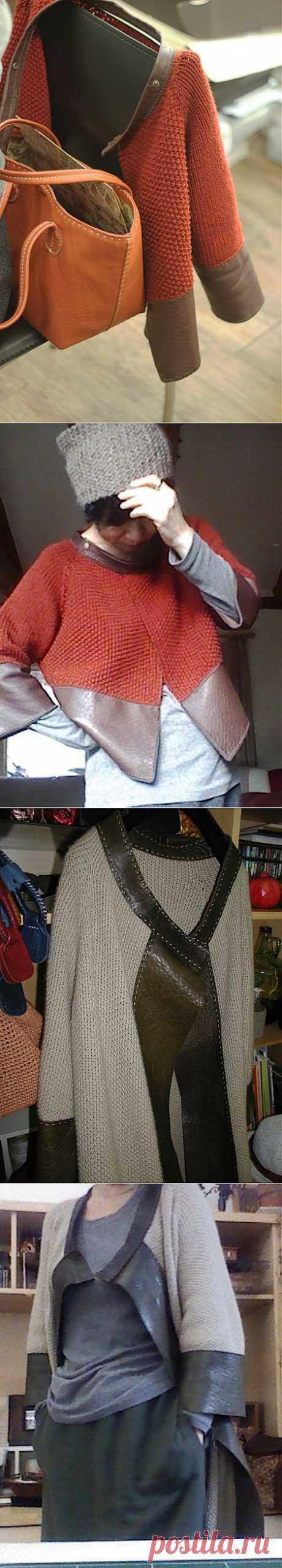 Вязаные кардиганы с кожаным декором / Вязание /