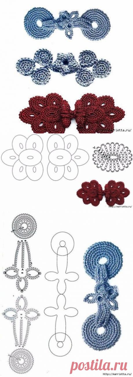 Перчинка Хозяюшка - вязание,рецепты.Схемы вязания крючком декоративных застежек для кардиганов и жакетов.