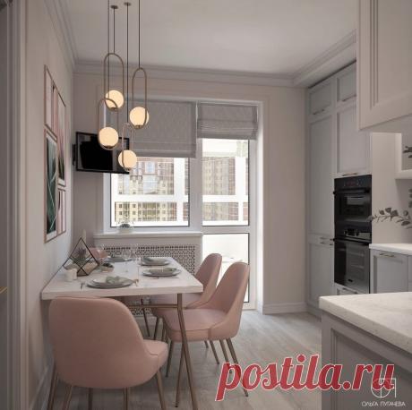 Нежный, пастельный дизайн-проект в маленькой кухне.   Карманный дизайнер   Яндекс Дзен