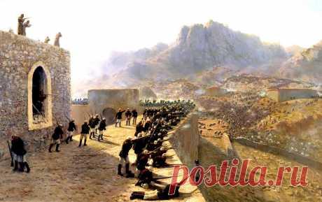 Баязет      142 лет назад началась оборона русскими войсками крепости Баязет. в которой 1,5-тысячный русский гарнизон противостоял десятикратно превышающему его корпусу противника.  -Отбитие штурма крепости Баязет 18 июня 1877 г