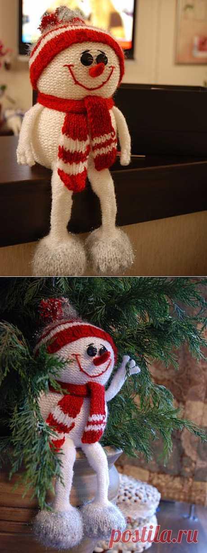 снеговик с ножками... прикольный... спицами.