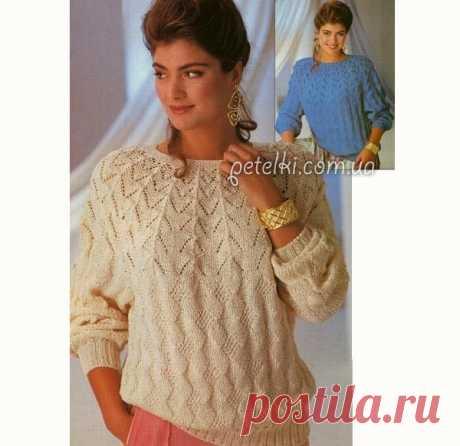 Пуловер спицами с круглой ажурной кокеткой Вяжем женский пуловер красивым узором с не менее красивой ажурной кокеткой. Выглядит очень нарядно, вяжется не очень сложно. Размеры: 38/40 (42/44)Потребуется: хлопчато-вискозная пряжа (дл. 120 м/50 г) 700 (750) г, круговые спицы № 3 и № 3,5. Резинка (спицами № 3): попеременно 2 лиц. п. и 2 изн. п.