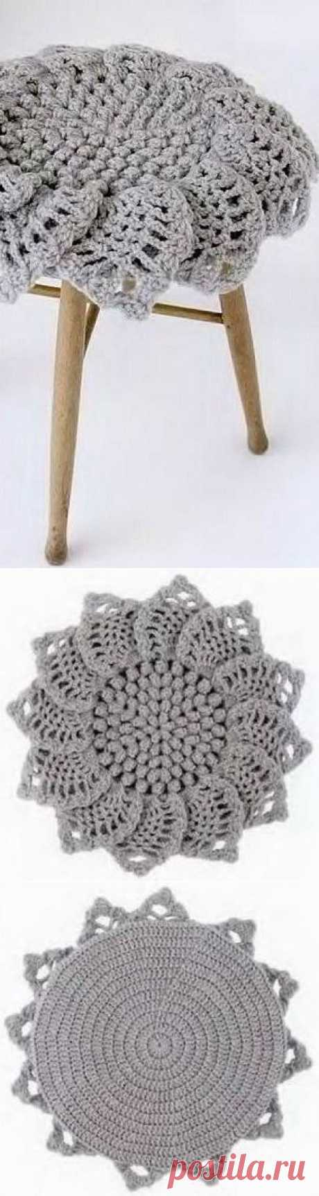 Вязание круглого коврика крючком.