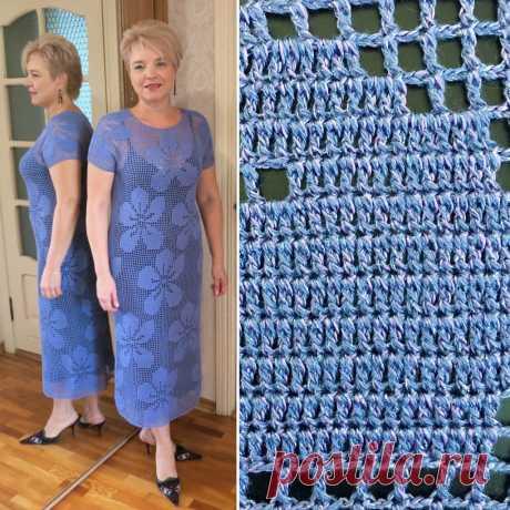 Вязаное платье крючком - Фиалка филейная - Lilia Vignan