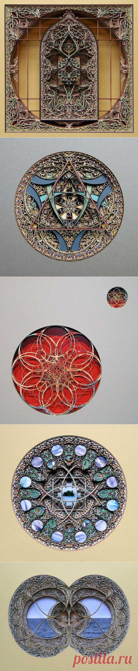 Необычные узоры из цветного картона Эрика Стендли (Eric Standley)Необычные узоры создает из сложенного слоями цветного картона художник Эрик Стендли (Eric Standley). О Автора вдохновляет готическая и средневековая исламская архитектура. Поэтому эти узоры напоминают восточную сказку.