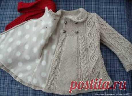 Пальто и кардиганы для девочек вяжем спицами