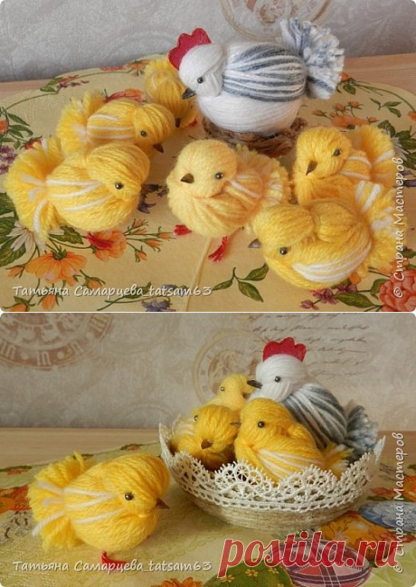 chickens from threads. Easter decor