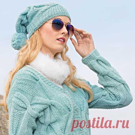 Голубая шапка с помпоном - схема вязания спицами. Вяжем Шапки на Verena.ru