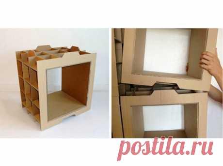 Стеллаж своими руками из картонных коробок