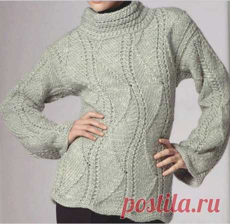Красивый узор для свитера спицами