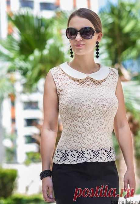Летняя блуза мотивами крючком. Ажурная женская блуза | Домоводство для всей семьи