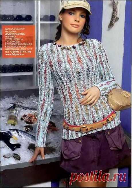 Тонкий пуловер спицами со спущенными петлями - 3 Августа 2010 - Вязание спицами, модели и схемы для вязания на спицах
