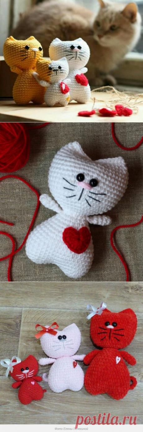 Сердечный котик крючком, схема вязания