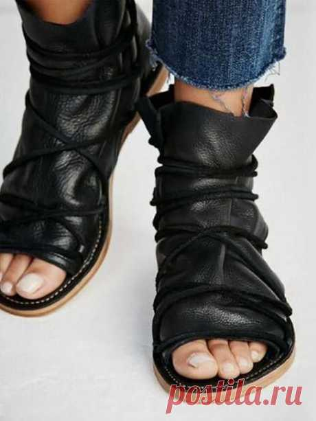 Solid Bandage Open Toe Flats Shoes – chicboho