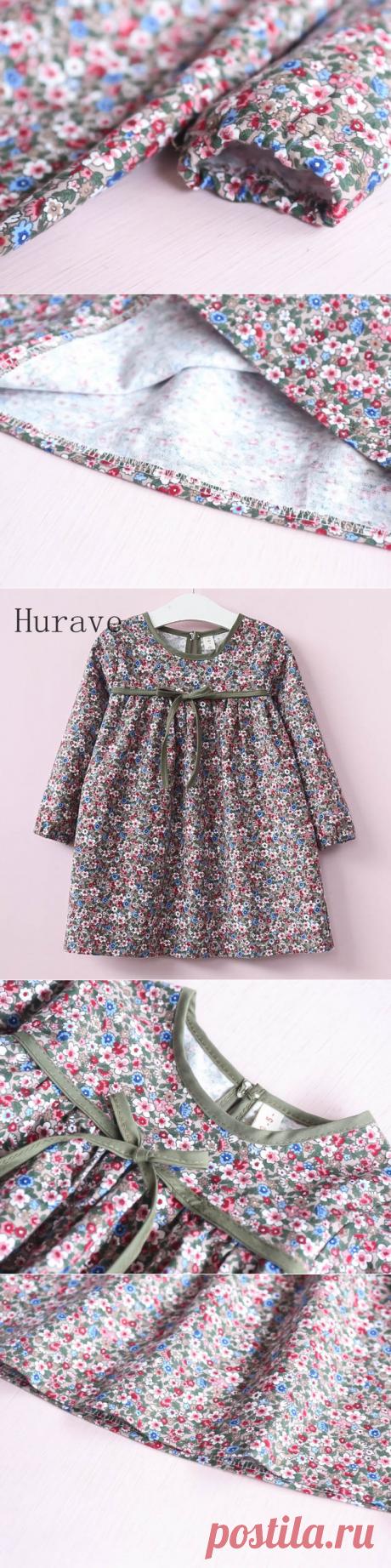 Hurave милые осенние платья для маленьких детей Одежда для девочек платье с цветочным принтом детская Костюмы с длинным рукавом Осень Vestidos купить на AliExpress