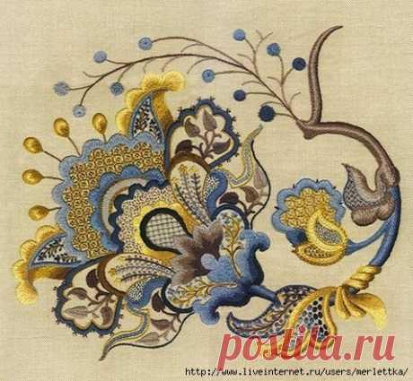 Якобинская вышивка или крюил Такая красота складывается из отдельных элементов. Здесь некоторые из них рассмотрены подробно