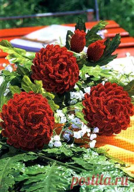 Георгин вязаный крючком. Красивые объемные цветы вязаные крючком схема | Лаборатория домашнего хозяйства
