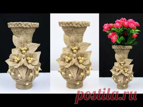 How to make a beautiful flower vase with plastic bottle and jute rope | best out of waste
