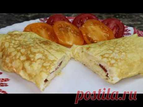 Быстрый завтрак за 3 минуты -  рулет из омлета - YouTube
