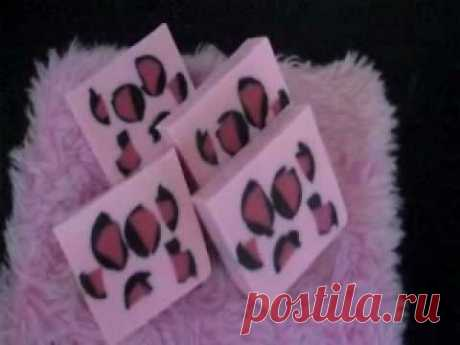 pink leopard- homemade embeds for melt & pour soap - YouTube