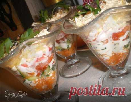 """Многослойный салат """"Эдит"""", пошаговый рецепт на 616 ккал, фото, ингредиенты - Svetlana"""