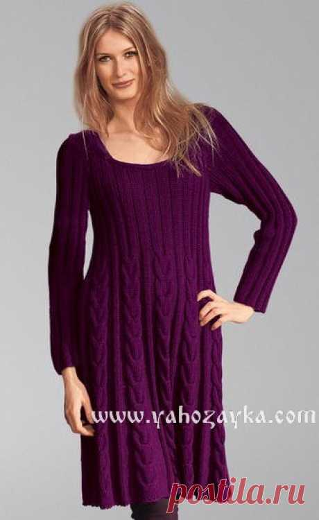 Теплое вязаное платье спицами схема. Вязаное спицами платье для женщины | Я Хозяйка