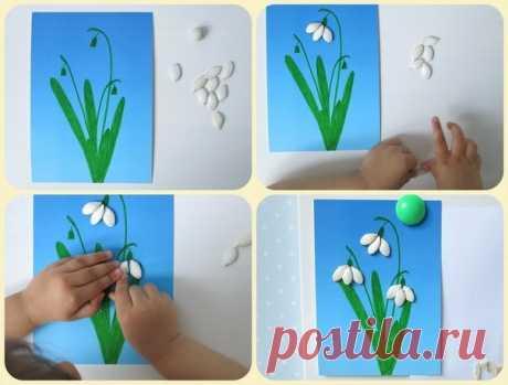 Подснежники из тыквенных семечек - Поделки с детьми   Деткиподелки