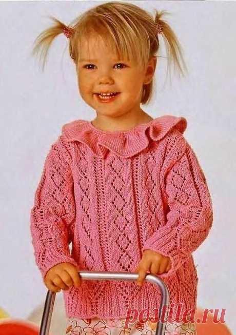 Розовый ажурный пуловер для маленькой красавицы