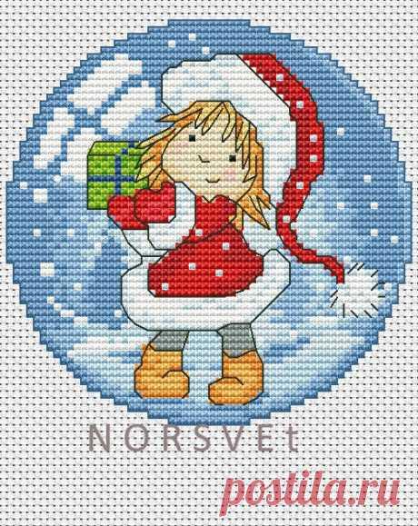 Gallery.ru / Шар.Малышка с подарком - Новогоднее - Norsvet