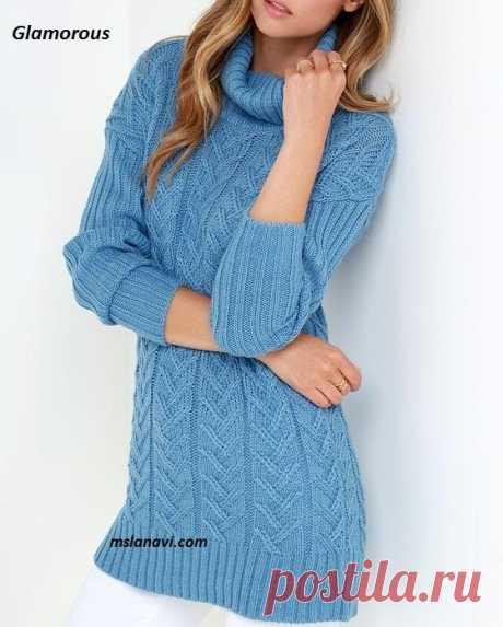 Вязаный свитер спицами от Glamorous - Вяжем с Лана Ви Вязаный свитерспицами от Glamorous — красивая модель с нежными аранами из каталога интернет-магазина.Утонченные араны, красивыйголубой цвет и комбинарование с простой резинкой делают вязаныйсвитер необычайно элегантным и привлекательным. Модель довольно зауженная, т.е. почти в точности повторяет фигуру. Удлиненная, чем больше приближена к вязаному платью. Несомненно практична в теплый сезон, и, как вы уже заметили, благодаря яркому […]