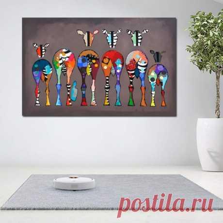 GUDOJK Dekorative Malerei Wand Poster Leinwand Gemälde Für Wohnzimmer Abstrakte Bunte Tier Kunst Sechs Zebras Bilder Wand Kunstdrucke Unframe-60x80cm: Amazon.de: Küche & Haushalt