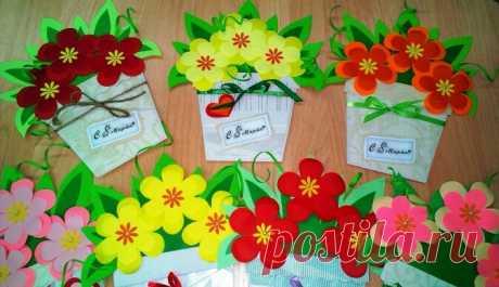 Самоделки цветочки в горшочке